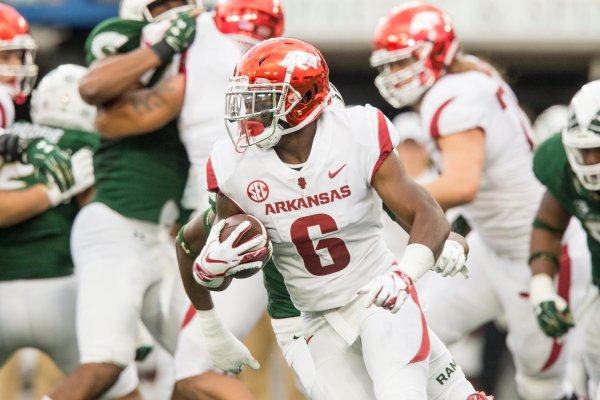 T.J. Hammonds, Arkansas running back, carries in the 2nd quarter vs Colorado State Saturday, Sept. 8, 2018, at Canvas Stadium in Fort Collins, Colo.