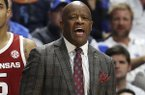 Arkansas coach Mike Anderson shouts to his team during the first half of an NCAA college basketball game against Kentucky in Lexington, Ky., Tuesday, Feb. 26, 2019. (AP Photo/James Crisp)