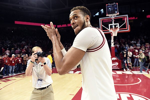 Arkansas forward Daniel Gafford celebrates after beating Mississippi 74-73 during an NCAA college basketball game, Saturday, March 2, 2019 in Fayetteville. (AP Photo/Michael Woods)