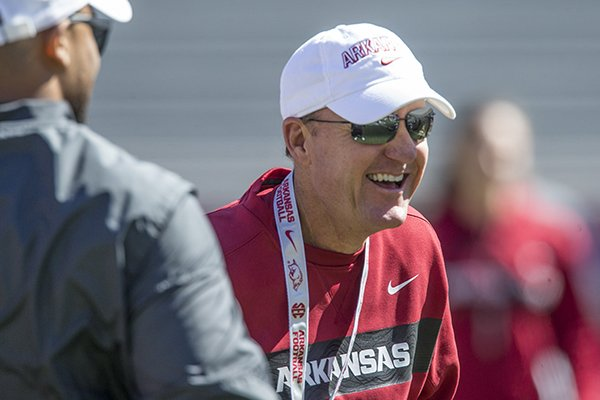 Arkansas coach Chad Morris is shown during practice Saturday, March 9, 2019, in Fayetteville.