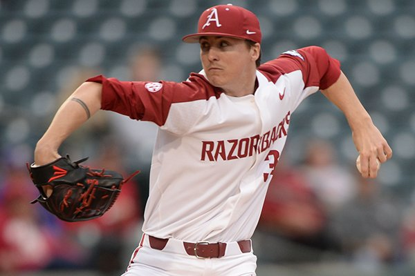 Arkansas pitcher Patrick Wicklander throws during a game against Western Illinois on Tuesday, March 12, 2019, in Fayetteville.