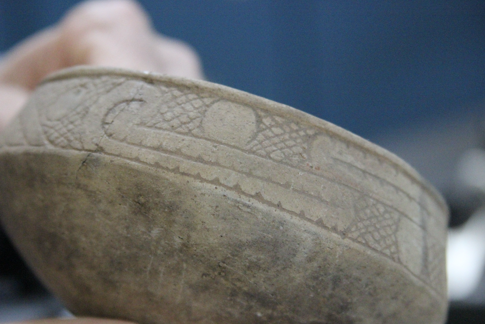 This small Caddoan bowl, dating to the 1500s or 1600s, was found at a site a few miles south of the Little Rock airport by the landowners, who donated it to the Arkansas Archeological Survey office at Pine Bluff. (Special to the Democrat-Gazette/DEBORAH HORN)