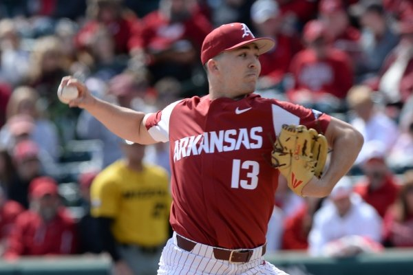 Arkansas starter Connor Noland delivers to the plate against Missouri Saturday, March 16, 2019, during the first inning at Baum-Walker Stadium in Fayetteville. Visit nwadg.com/photos to see more photographs from the game.