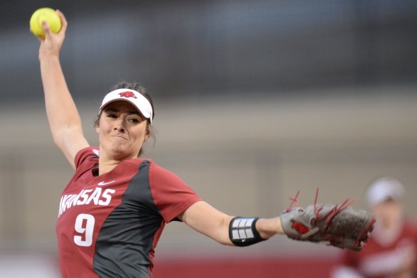 Arkansas starter Autumn Storms delivers a pitch against Southeast Missouri Thursday, Feb. 21, 2019, during the fourth inning at Bogle Park on the university campus in Fayetteville.