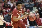 Arkansas Razorbacks guard Desi Sills (0) dribbles during the first half of the NCAA National Invitation Tournament, Saturday, March 23, 2019 at the Simon Skjodt Assembly Hall at the University of Indiana in Bloomington, Ind. The Arkansas Razorbacks fell to the Indiana Hoosiers 63-60.