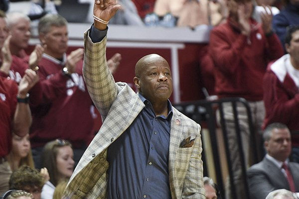 Arkansas Razorbacks head coach Mike Anderson gestures during the second half of the NCAA National Invitation Tournament, Saturday, March 23, 2019 at the Simon Skjodt Assembly Hall at the University of Indiana in Bloomington, Ind. The Razorbacks fell to the Hoosiers 63-60.