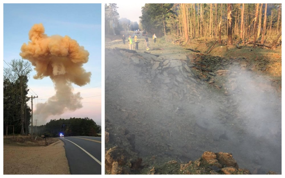 Left: A large smoke plume is seen after a fertilizer truck exploded on U.S. 278. (Photo by Mike Rowe). Right: The explosion left a large crater in the highway. (Photo by Arkansas Department of Transportation)