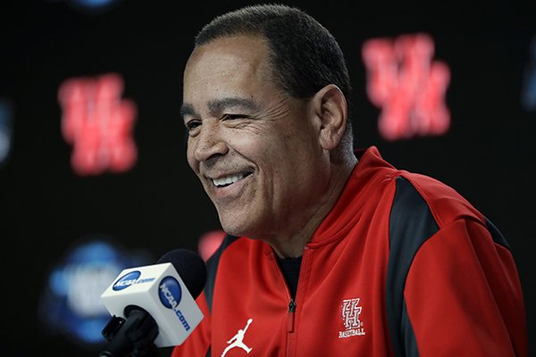 Houston head coach Kelvin Sampson speaks during a news conference at the NCAA men's college basketball tournament Thursday, March 28, 2019, in Kansas City, Mo. Houston plays Kentucky in a Midwest Regional semifinal on Friday. (AP Photo/Orlin Wagner)
