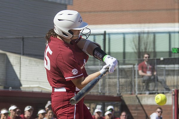 Arkansas outfielder Katie Warrick bats during a game against South Carolina on Sunday, March 17, 2019, at Bogle Park in Fayetteville.
