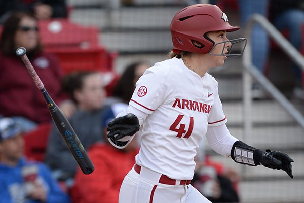 Arkansas designated hitter Danielle Gibson bats during a game against Kentucky on Friday, March 29, 2019, in Fayetteville.
