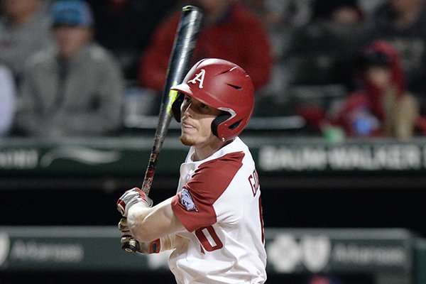 Arkansas designated hitter Matt Goodheart bats during a game against Ole Miss on Friday, March 29, 2019, in Fayetteville.