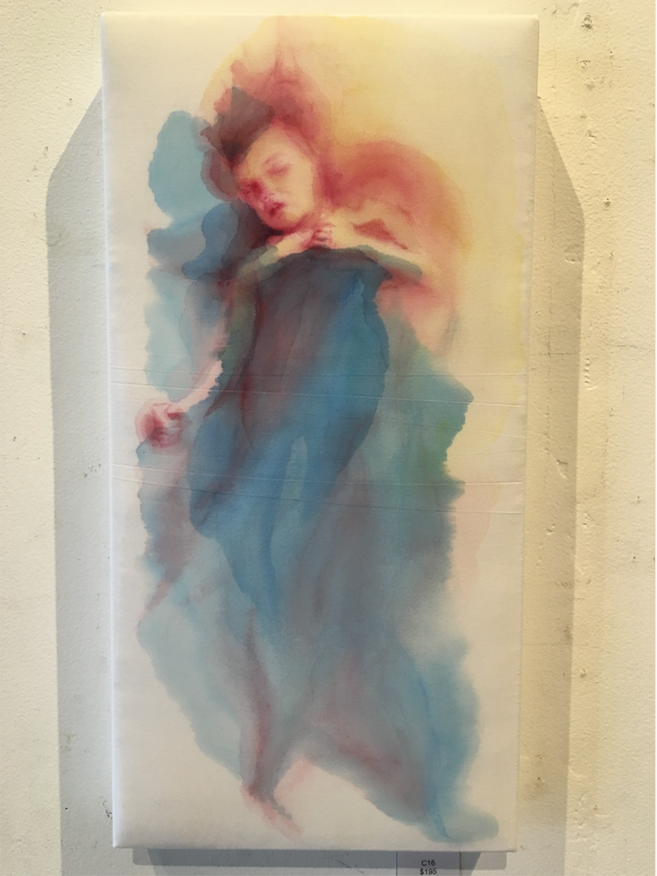 "Emily Moll Wood creates a dreamy, otherworldly watercolor on dress shirt fabric titled ""C16."" It is part of Wood's ""Ode to Sleep"" works at Gallery 26. (Courtesy of Gallery 26)"