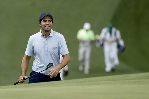 Alvaro Ortiz walks up to the seventh green during a practice round for the Masters golf tournament Monday, April 8, 2019, in Augusta, Ga. (AP Photo/Marcio Jose Sanchez)