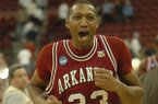 Arkansas center Vincent Hunter runs off the floor following the Razorbacks' 86-72 NCAA Tournament win over Indiana on Friday, March 21, 2008, in Raleigh, N.C.