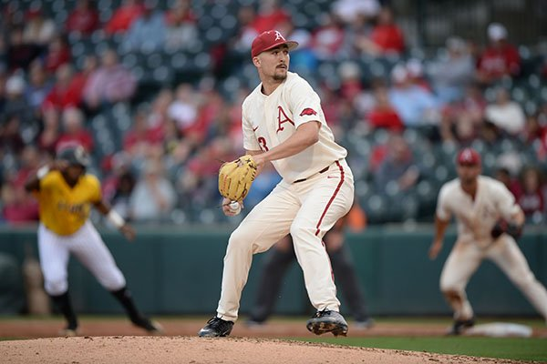 Arkansas pitcher Connor Noland throws during a game against Arkansas-Pine Bluff on Tuesday, April 16, 2019, in Fayetteville.
