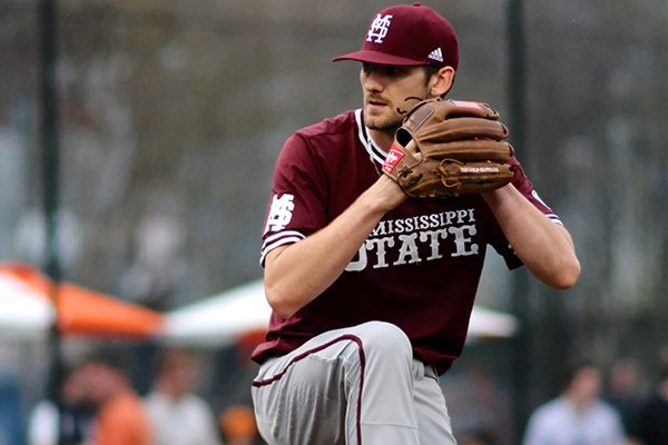 Mississippi State pitcher Ethan Small (44) delivers the pitch during an NCAA college baseball game against Tennessee, Friday, April 5, 2019, in Knoxville, Tenn. (AP Photo/Shawn Millsaps)