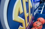 The SEC logo is shown on March 14, 2019, during the second round game in the SEC Tournament at Bridgestone Arena in Nashville.