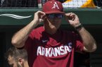 Arkansas coach Dave Van Horn watches from the dugout during a game against Mississippi State on Saturday, April 20, 2019, in Fayetteville.