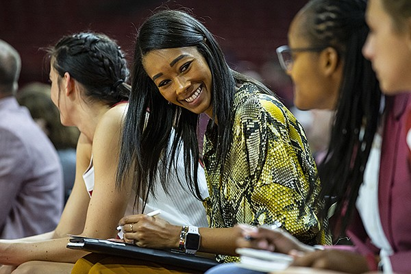 Arkansas assistant coach Lacey Goldwire is shown during a game against Arizona State on Sunday, Nov. 18, 2018, in Fayetteville.