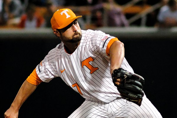 Tennessee pitcher Garrett Stallings (27) delivers the pitch during an NCAA college baseball game, Friday, April 5, 2019, in Knoxville, Tenn. (AP Photo/Shawn Millsaps)