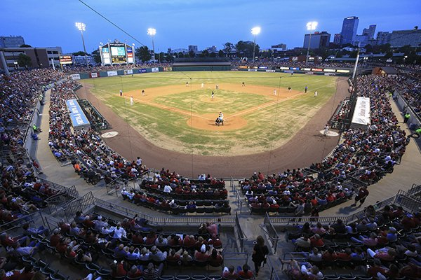 Dickey-Stephens Park is shown during a game between Arkansas and Grambling State on Tuesday, April 30, 2019, in North Little Rock.