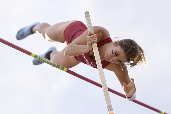 Arkansas pole vaulter Tori Hoggard competes during the SEC Outdoor Track and Field Championships on Friday, May 10, 2019, at John McDonnell Field in Fayetteville.