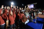 Arkansas' women's track and field team celebrates Saturday, May 11, 2019, after winning the SEC Outdoor Track and Field Championship at John McDonnell Field in Fayetteville.