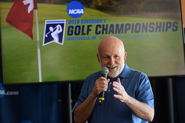 John Tyson, founder of Blessings Golf Club, speaks Tuesday, April 9, 2019, during a press conference to announce the details of the NCAA Men's and Women's Golf Nation Championship at Blessings Golf Club in Johnson.