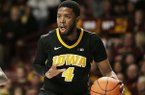 Iowa guard Isaiah Moss during an NCAA college basketball game against Minnesota Sunday, Jan. 27, 2019, in Minneapolis. Minnesota defeated Iowa 92-87. (AP Photo/Andy Clayton-King)