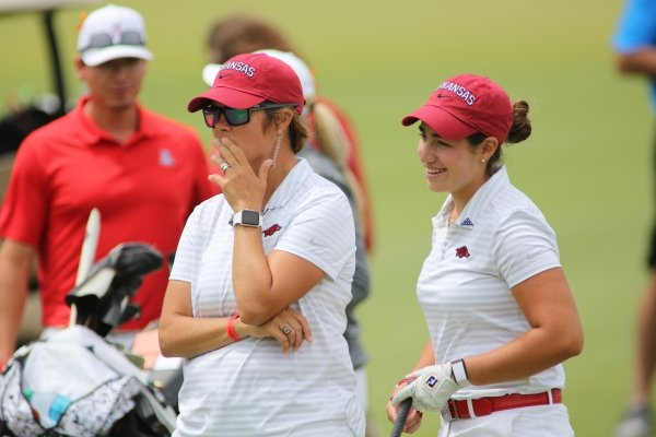 Monday, May 20, 2019, on the first hole green during the NCAA women's golf championship Monday the Blessings Golf Club in Johnson.