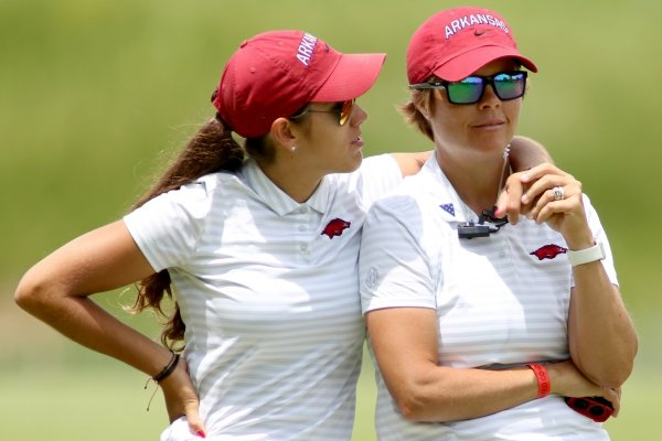 University of Arkansas' Maria Fassi (left) Monday, May 20, 2019, with head coach Shauna Taylor on the first fairway during the NCAA women's golf championship Monday the Blessings Golf Club in Johnson.
