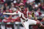 Arkansas catcher Casey Opitz throws toward first base during a game against LSU on Thursday, May 9, 2019, at Baum-Walker Stadium in Fayetteville.