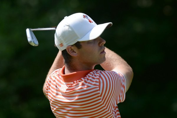 Matthew Wolff of Oklahoma State watches his tee shot Saturday, May 25, 2019, on the 13th tee box during the second day of play in the Men's NCAA Golf Championships at Blessings Golf Club in Johnson. Visit nwadg.com/photos to see more photographs from the day's rounds.