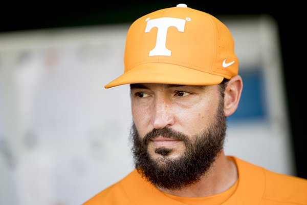 Tennessee NCAA college baseball coach Tony Vitello is shown before a game in Knoxville, Tenn., Tuesday, April 9, 2019. Tennessee's ability to respond to adversity helped the Volunteers end the Southeastern Conference's longest NCAA Tournament drought. (Calvin Mattheis/Knoxville News Sentinel via AP)