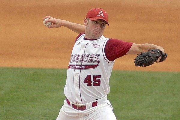 Arkansas pitcher Charley Boyce throws against Wichita State in the NCAA regional baseball tournament in Fayetteville, Ark. Friday, June 5, 2004. Boyce threw 14 1/3 innings and 203 pitches in two days. (AP Photo/Neemah Aaron)