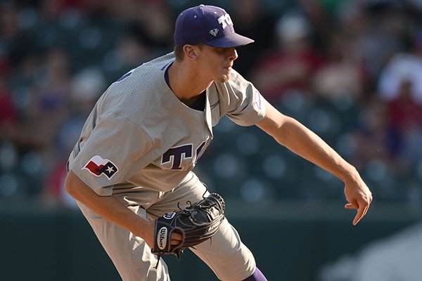 TCU starter Brandon Williamson follows through with a pitch Friday, May 31, 2019, during the first inning of a game against California at Baum-Walker Stadium in Fayetteville.