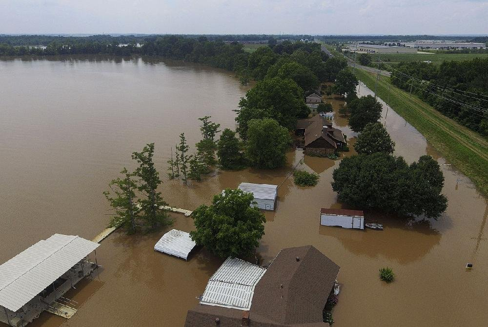 Part of the Willow Beach Road area in North Little Rock has been hard hit by the Arkansas River flooding, as this aerial view Tuesday shows. More photos are available arkansasonline.com/65flood/