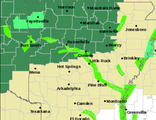 map of northern arkansas Heavy Rains Moving Into Arkansas Prompt Flash Flood Watch Water map of northern arkansas