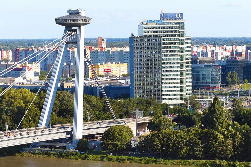 "The SNP Bridge's observation deck and ""UFO"" restaurant provide stunning views of Bratislava. Photo by Gretchen Strauch via Rick Steves' Europe"