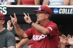 Arkansas Razorbacks head coach Dave Van Horn gestures during a baseball game, Monday, June 17, 2019 at the TD Ameritrade Park in Omaha, Neb. The Arkansas Razorbacks fell to Texas Tech 5-4 ending their College World Series run