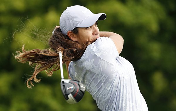 Maria Fassi hits off the 10th tee during the first round of the KPMG Women's PGA Championship golf tournament, Thursday, June 20, 2019, in Chaska, Minn. (AP Photo/Charlie Neibergall)