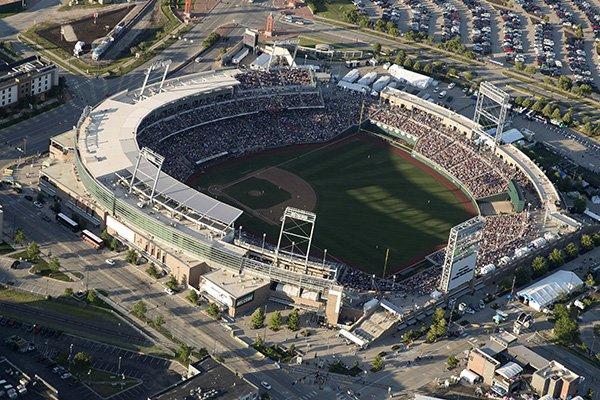 TD Ameritrade Park hosts Game 1 of the NCAA College World Series baseball finals between Michigan and Vanderbilt, in Omaha, Neb., Monday, June 24, 2019. (Jeff Bundy/Omaha World-Herald via AP)