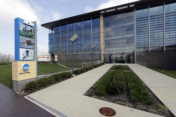 This is an April 25, 2018, file photo showing NCAA headquarters in Indianapolis. (AP Photo/Darron Cummings, File)