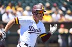 Arizona State's Cole Austin runs toward first base during a May 2019 game against Stanford in Phoenix.