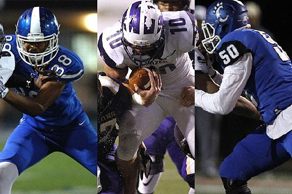From left to right: Bryant's Catrell Wallace, Hazen's Blayne Toll and Conway's Robert Scott are shown during 2018 games.