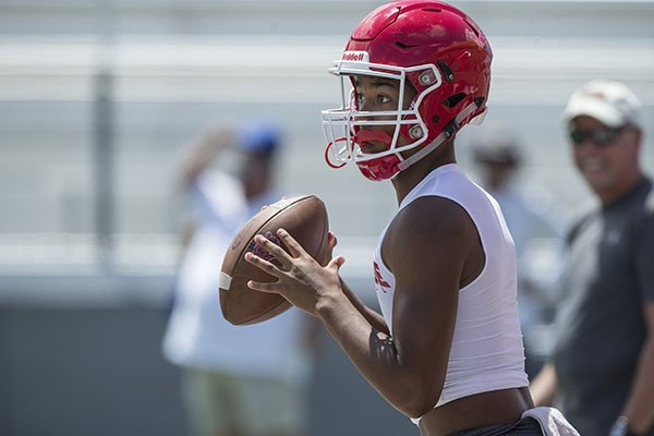 Fort Smith Northside quarterback Dreyden Norwood looks for a receiver during a 7-on-7 game against Stillwater, Okla., on Friday, July 12, 2019, during the Southwest Elite 7-on-7 Tournament at Jarrell Williams Bulldog Stadium in Springdale.