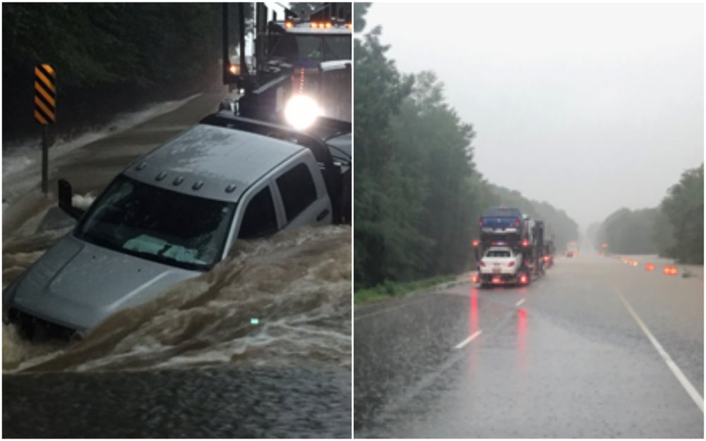 (Left) A truck rests in flooded waters along U.S. 371 in Nevada County. (Right) Segments of Interstate 30 in southwest Arkansas were closed Tuesday morning, officials said.