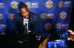 Arkansas defensive lineman McTelvin Agim speaks to reporters during the NCAA college football Southeastern Conference Media Days, Wednesday, July 17, 2019, in Hoover, Ala. (AP Photo/Butch Dill)