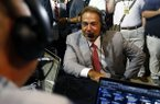 Alabama head coach Nick Saban visits Radio Row during the NCAA college football Southeastern Conference Media Days, Wednesday, July 17, 2019, in Hoover, Ala. (AP Photo/Butch Dill)