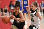 Elauna Eaton of Nettleton plays during a basketball camp at the University of Arkansas. Eaton is one of the state's top uncommitted players in the 2020 class.